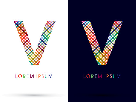 v shape: V colorful font designed using colors line on white and black background concept wicker basket  woven ribbons happy fun fantasy logo symbol icon graphic vector.