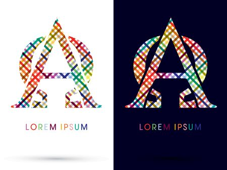 alpha: Alpha and Omega colorful font designed using colors line on white and black background concept wicker basket  woven ribbons happy fun fantasy logo symbol icon graphic vector.
