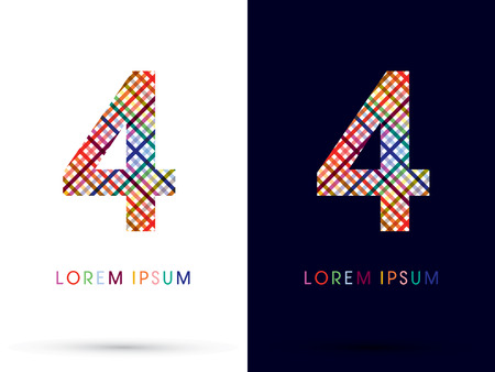 4 color printing: 4 colorful font designed using colors line on white and black background concept wicker basket  woven ribbons happy fun fantasy logo symbol icon graphic vector. Illustration