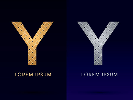 Y Luxury font designed using gold and silver line  on dark background idea from wicker basket  ribbons jewelry logo symbol icon graphic vector. Vector