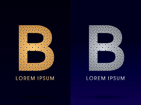 B Luxury font designed using gold and silver line  on dark background idea from wicker basket  ribbons jewelry logo symbol icon graphic vector. Vector