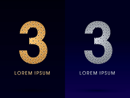 3 Luxury font designed using gold and silver line  on dark background idea from wicker basket  ribbons jewelry logo symbol icon graphic vector. Vector