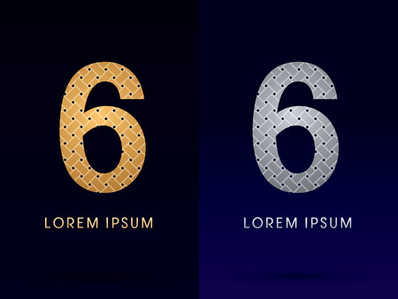 6 Luxury font designed using gold and silver line  on dark background idea from wicker basket  ribbons jewelry logo symbol icon graphic vector.
