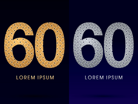 60 Luxury font designed using gold and silver line  on dark background idea from wicker basket  ribbons jewelry logo symbol icon graphic vector. Vector