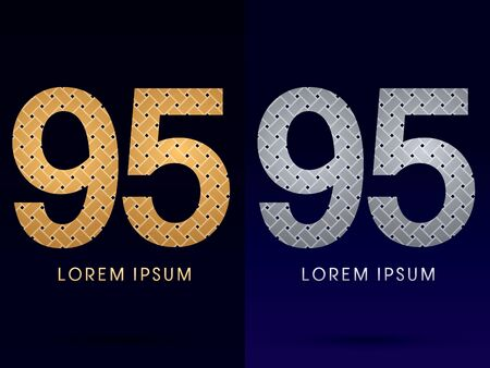 95: 95 Luxury font designed using gold and silver line  on dark background idea from wicker basket  ribbons jewelry logo symbol icon graphic vector.
