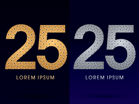 25 Luxury font designed using gold and silver line  on dark background idea from wicker basket  ribbons jewelry logo symbol icon graphic vector. Vector