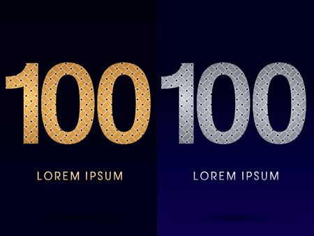 100 Luxury font designed using gold and silver line  on dark background idea from wicker basket  ribbons jewelry logo symbol icon graphic vector. Vector