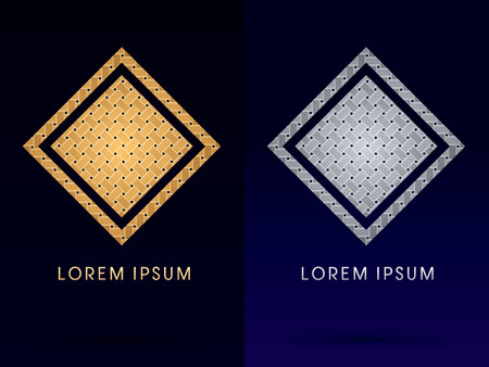 Luxury Square Box Triangle designed using gold and silver line geometric shape on dark background idea from wicker basket woven ribbons jewelry diamond rope logo symbol icon graphic vector. Vector