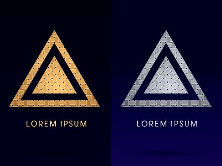 jewelry design: Luxury Pyramid Triangle designed using gold and silver line geometric shape on dark background idea from wicker basket woven ribbons jewelry diamond rope logo symbol icon graphic vector.