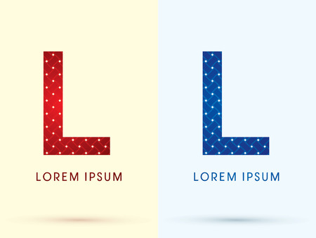 l red: L Luxury font designed using red and blue line geometric shape idea from wickerbasket woven ribbons jewelry diamond rope logo symbol icon graphic vector.