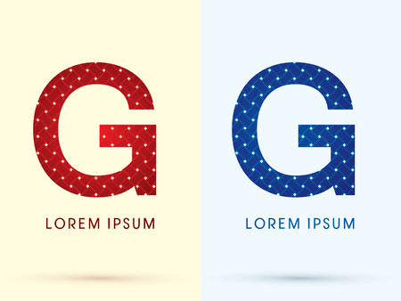 g p: G Luxury font designed using red and blue line geometric shape idea from wickerbasket woven ribbons jewelry diamond rope logo symbol icon graphic vector.