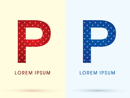 P Luxury font designed using red and blue line geometric shape idea from wickerbasket woven ribbons jewelry diamond rope logo symbol icon graphic vector. Vector