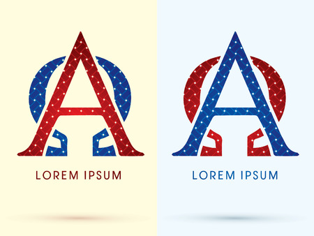 alpha: Alpha and Omega Luxury font designed using red and blue line geometric shape idea from wickerbasket woven ribbons jewelry diamond rope logo symbol icon graphic vector. Illustration