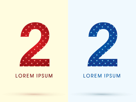 2 Luxury font designed using red and blue line geometric shape idea from wickerbasket woven ribbons jewelry diamond rope logo symbol icon graphic vector. Vector