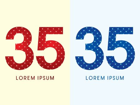 35 Luxury font designed using red and blue line geometric shape idea from wickerbasket woven ribbons jewelry diamond rope logo symbol icon graphic vector. Vector