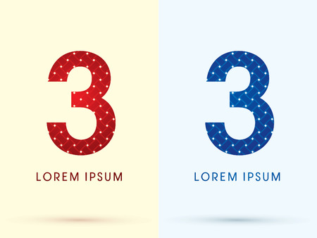 3 Luxury font designed using red and blue line geometric shape idea from wickerbasket woven ribbons jewelry diamond rope logo symbol icon graphic vector. Vector