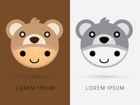 head toy: Cute cartoon brown bear hat on smile child head Toy shop logo symbol icon graphic vector. Illustration