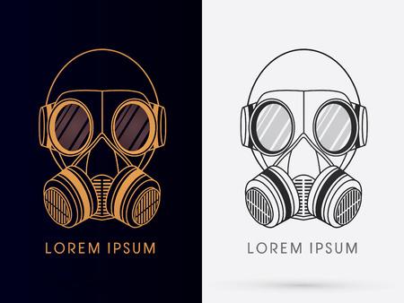 army gas mask: Gas Ej�rcito dise�o de la m�scara usando oro y negro del logotipo del color del icono del s�mbolo gr�fico vectorial. Vectores