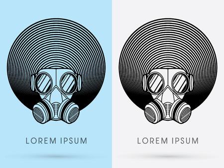 army gas mask: M�scara de Gas del ej�rcito con dise�o de cabello afro usando negro color de la l�nea insignia l�nea Circle Line ciclo de iconos s�mbolo gr�fico vectorial.