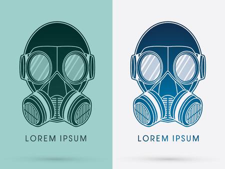 mascara de gas: Gas Mask Ejército diseño usando negro y azul del logotipo del color del icono del símbolo gráfico vectorial. Vectores
