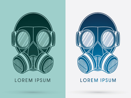 Army Gas Mask design using black and blue color logo symbol icon graphic vector.