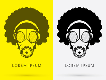 hair mask: Army Gas Mask  with Afro hair and head phone design using black  color logo symbol icon graphic vector. Illustration