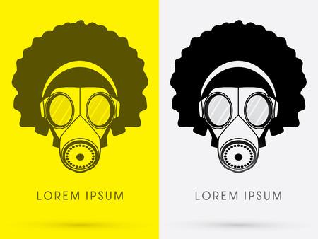 army gas mask: M�scara de Gas del ej�rcito con dise�o pelo y tel�fono de la cabeza afro usando negro del logotipo del color del icono del s�mbolo gr�fico vectorial. Vectores