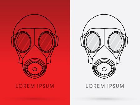 army gas mask: M�scara de gas Ej�rcito dise�ado usando gr�ficos de l�nea en fondo rojo logotipo del icono del s�mbolo gr�fico vectorial. Vectores
