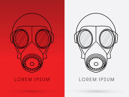 Army Gas Mask designed using line graphic on red background logo symbol icon graphic vector.
