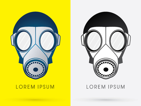 Army Gas Mask design using blue and black color logo symbol icon graphic vector.