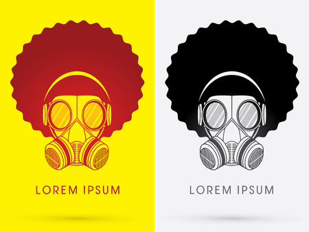 hair mask: Army Gas Mask  with Afro hair and head phone design using black and red color logo symbol icon graphic vector. Illustration