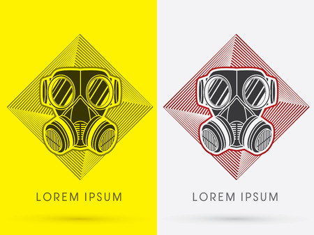 army gas mask: Black Army Gas Mask designed on spin square background design from line geometric logo symbol icon graphic vector.