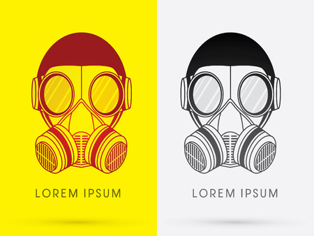 Army Gas Mask design using red and black color logo symbol icon graphic vector.