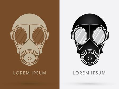 army gas mask: Silueta Gas Mask Ej�rcito dise�o usando marr�n y negro del logotipo del color del icono del s�mbolo gr�fico vectorial.