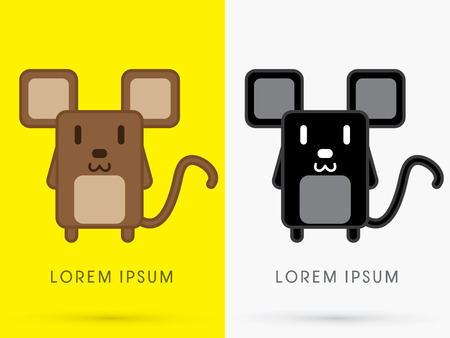 simple logo: Brown and Black Rat Mouse cute cartoon mascot toy doll in simple geometric shape logo symbol icon graphic vector. Illustration
