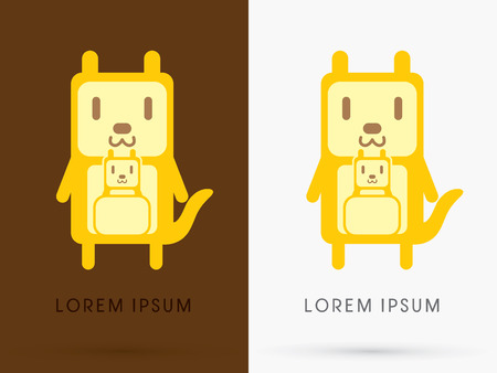 simple logo: Kangaroo with baby cute cartoon mascot toy doll in simple geometric shape logo symbol icon graphic vector.
