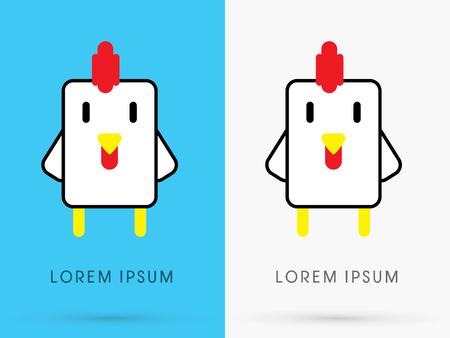 pet store: Chicken hen cute cartoon mascot toy doll in simple geometric shape logo symbol icon graphic vector.