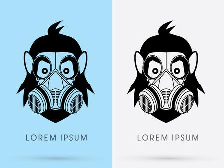 Cartoon Gorilla King Kong  face head using gas mask logo symbol icon graphic vector. Vector
