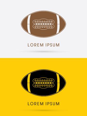 Silhouette American football ball logo symbol icon graphic vector. Vector