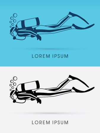 regulators: Diving with  bubbles water logo symbol icon graphic vector.