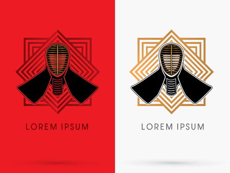 kendo: Kendo helmet mask on gold and red line square geometric background logo symbol icon graphic vector.