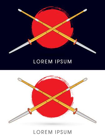 Kendo shinai bokuto sword on red grunge brush circle background  logo symbol icon graphic vector. Vector