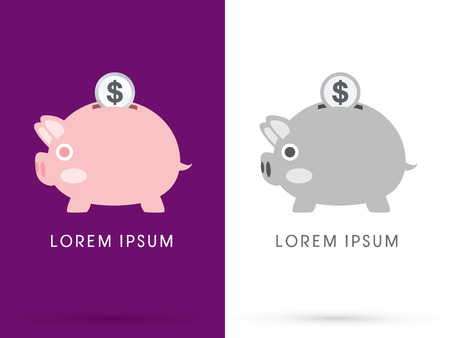 Side Piggy bank and coin cartoon cute  logo symbol icon graphic vector. Vector