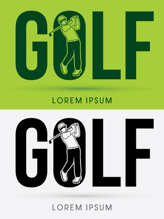 Golf text with Man swinging golf  Golf players Club logo symbol icon graphic vector.