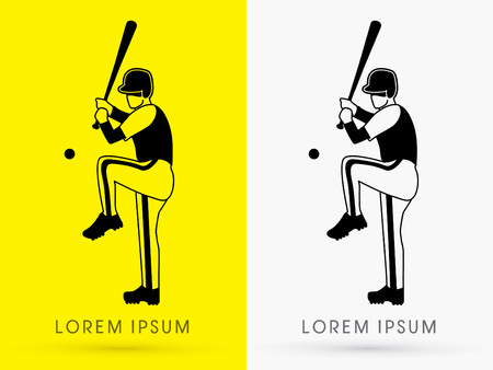 fastball: Baseball Player ready to hit a ball outline logo symbol icon graphic vector. Illustration