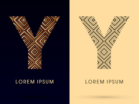 Y Luxury font designed using gold and brown bronze line square geometric shape with black and white tone logo symbol icon graphic vector. Vector