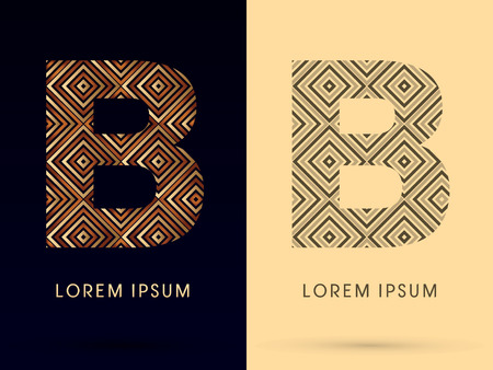 b: B Luxury font designed using gold and brown bronze line square geometric shape with black and white tone logo symbol icon graphic vector. Illustration