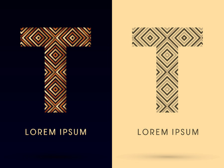 t square: T Luxury font designed using gold and brown bronze line square geometric shape with black and white tone logo symbol icon graphic vector.