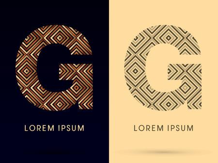 G 高級フォントが黒と白のトーンのロゴ シンボル アイコン グラフィック ベクトルとゴールドと茶色のブロンズ ライン正方形の幾何学的図形を使用