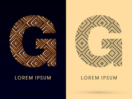 G Luxury font designed using gold and brown bronze line square geometric shape with black and white tone logo symbol icon graphic vector. Çizim